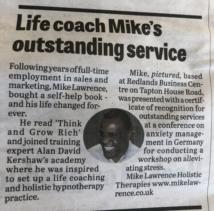 life coach in Sheffield Mike' outstanding service