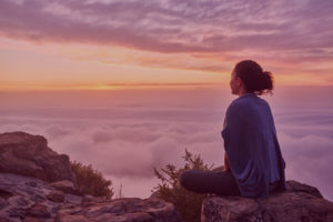 woman at peace with her mind relaxing